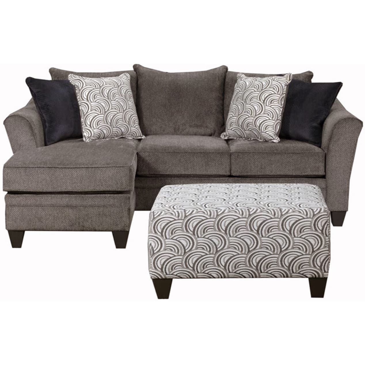 Simmons Upholstery Albany Pewter Sofa Chaise – Free Shipping Today With Simmons Chaise Sofas (View 5 of 10)