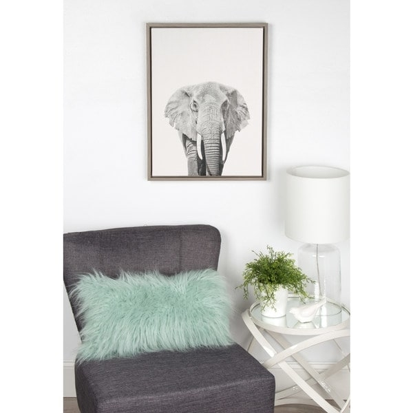 Simon Te Tai Designovation 'sylvie Elephant' Canvas Wall Art With With Regard To Grey Canvas Wall Art (Image 13 of 15)