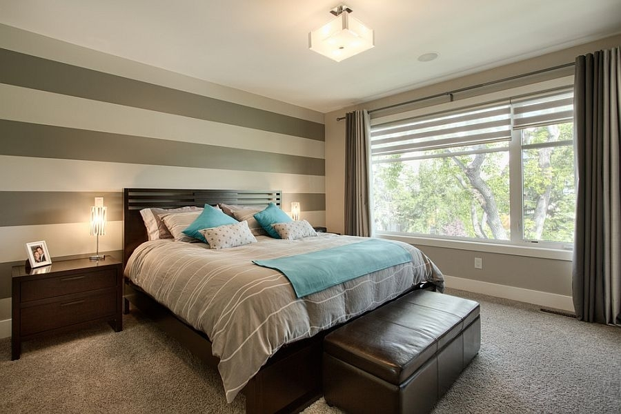 Simple Accent Wall Horizontal Stripes Bedroom Design – Dma Homes Regarding Horizontal Stripes Wall Accents (Image 13 of 15)
