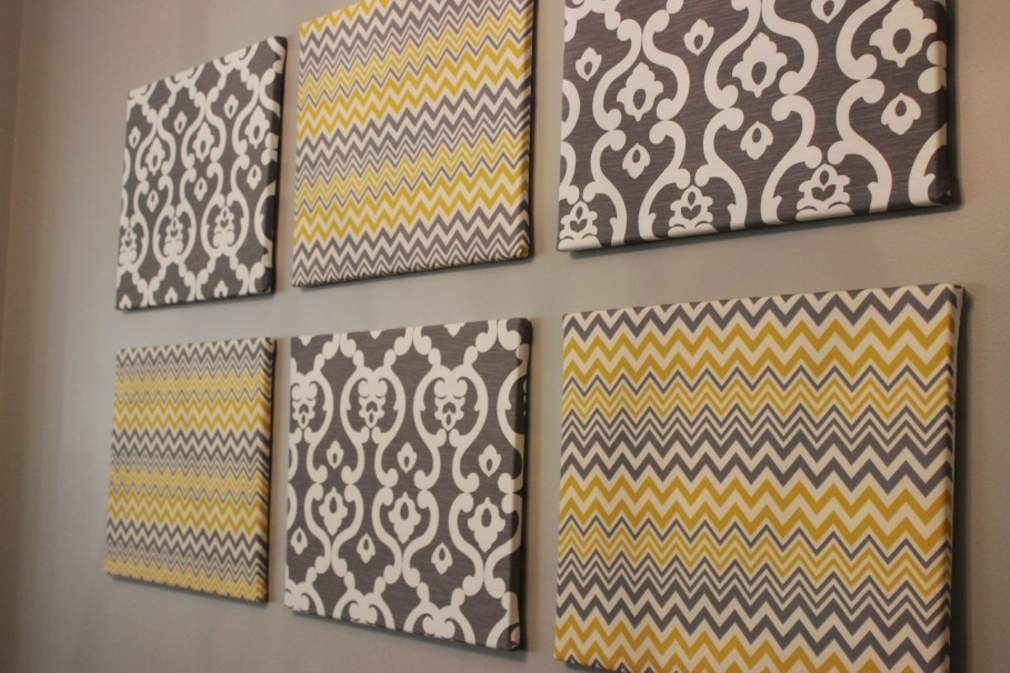 Simple Easy Diy Art For Fabulous Interior Decor Setting – Stunning For Fabric Square Wall Art (Image 6 of 15)