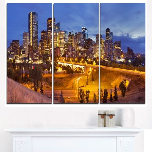 Skyline Of Calgary At Night Panorama – Modern Cityscape Canvas In Calgary Canvas Wall Art (Image 13 of 15)