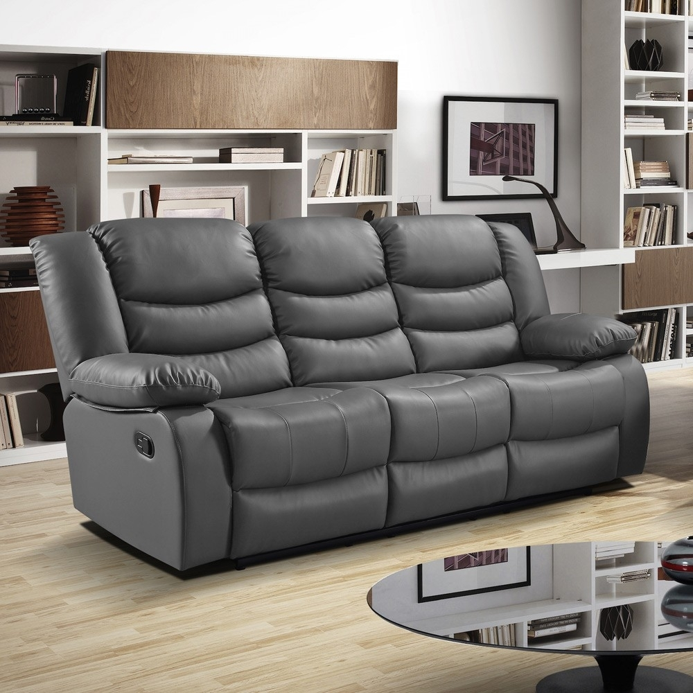 Slate Dark Grey Recliner Sofa Collection In Bonded Leather for Recliner Sofas