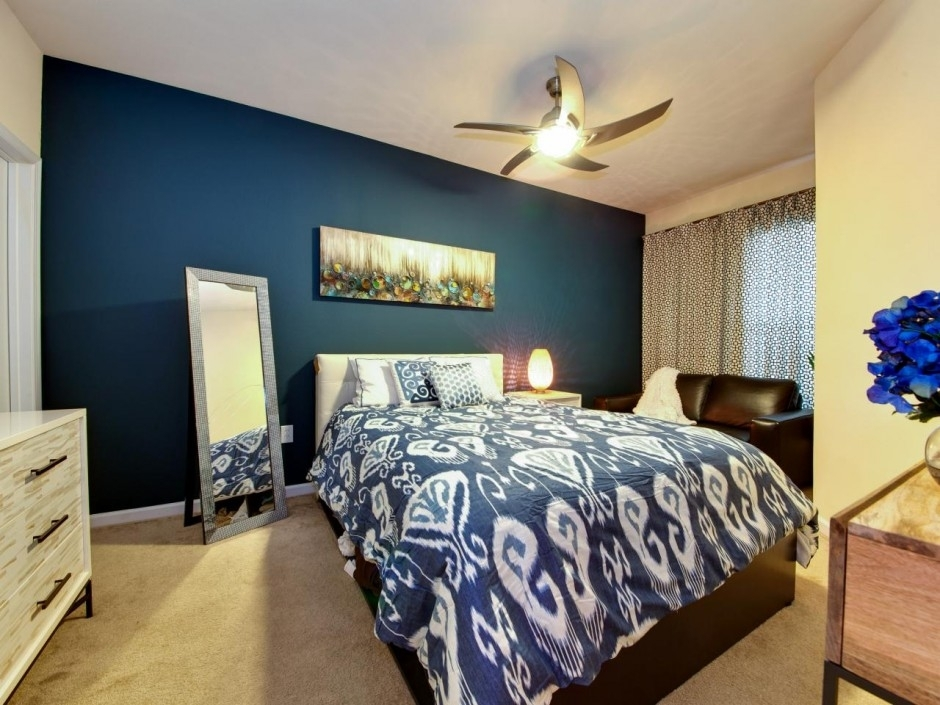 Small Contemporary Bedroom Interior Come With Ebonee Bachman Blue Inside Wall Accents For Small Bedroom (View 8 of 15)