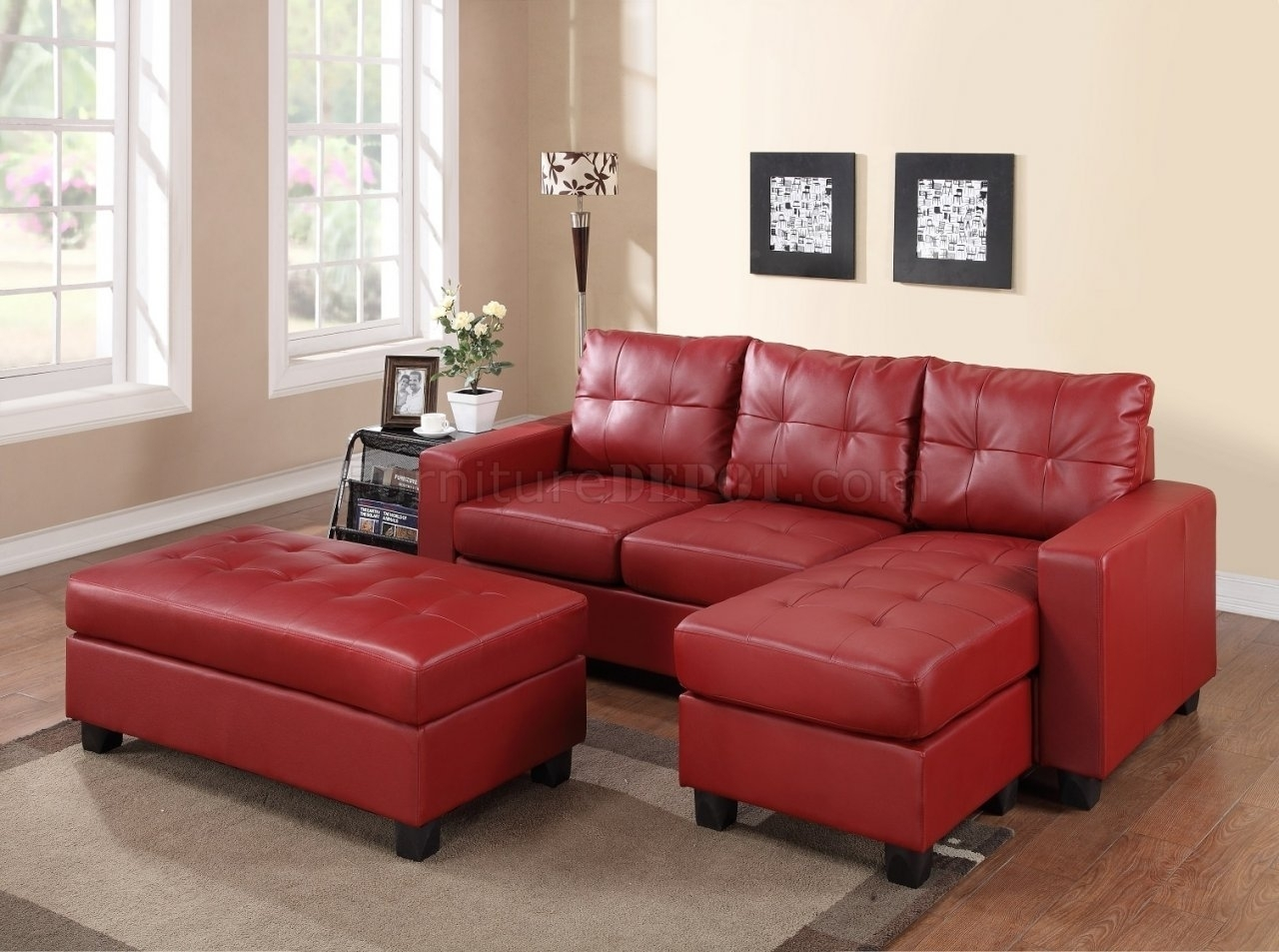 Small Red Leather Sectional Sofa • Leather Sofa In Small Red Leather Sectional Sofas (Image 5 of 10)