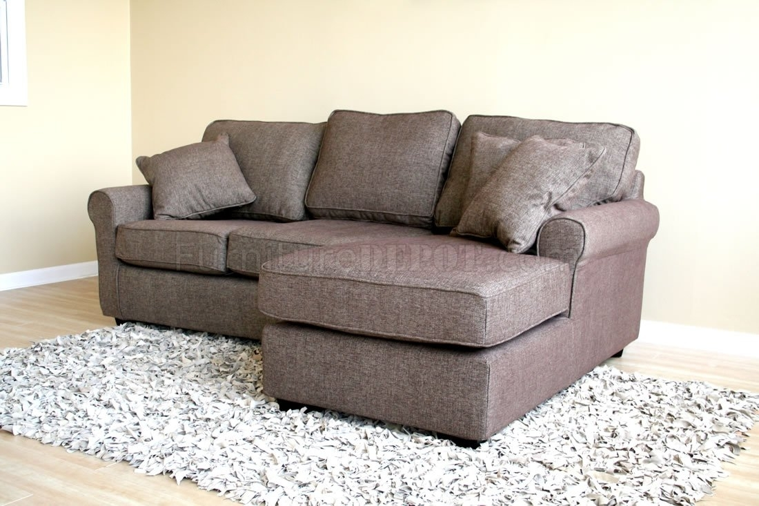 Small Sectional Sofa In Brown Fabric In Small Sectional Sofas (View 3 of 10)