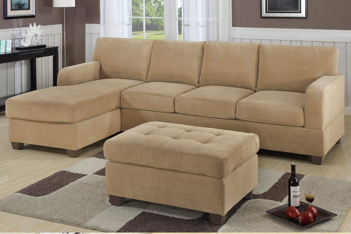 Small Space Light Brown Sectional Sofa With Chaise And Tufted Intended For Small Sectional Sofas With Chaise And Ottoman (Image 7 of 10)