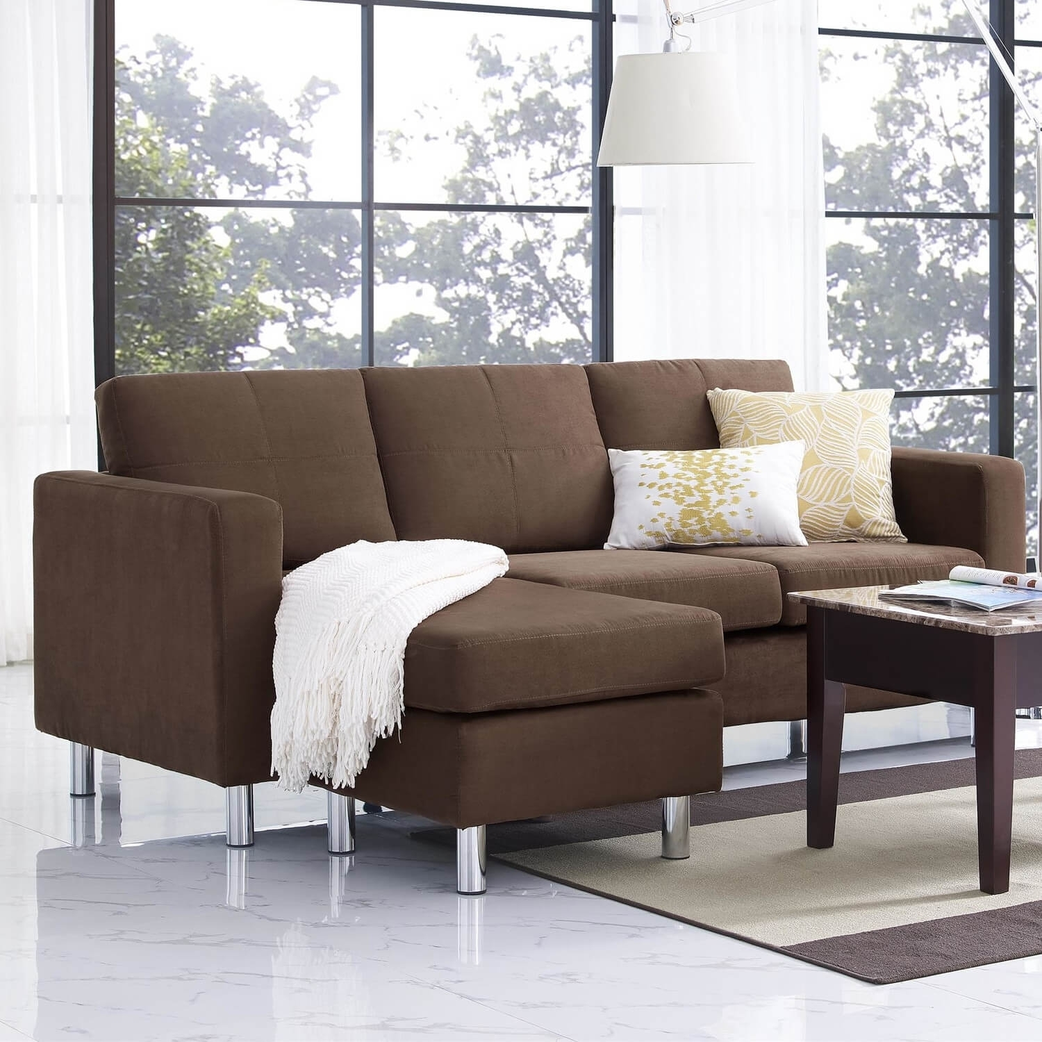 Small Spaces Sectional Sofa With Microfiber Upholstery • Sectional Sofa In Sectional Sofas Under  (Image 8 of 10)