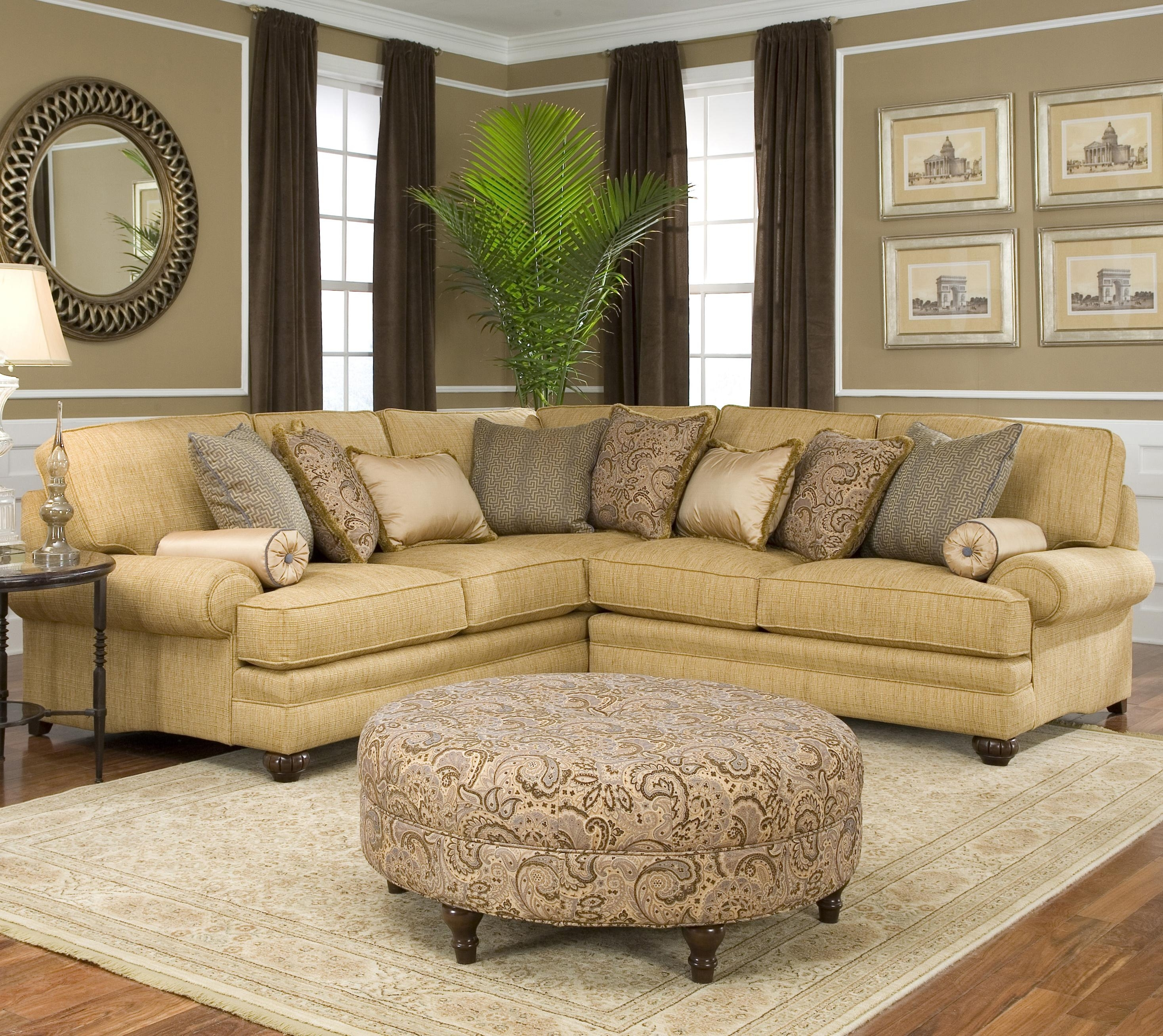 Smith Brothers 376 Traditional Styled Corner Sectional Sofa With Rounded Corner Sectional Sofas (Image 8 of 10)