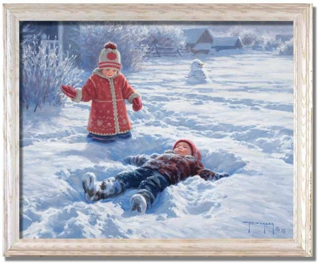 Snow Angels Child Kids Scenerobert Duncan – Framed Art Print Pertaining To Robert Duncan Framed Art Prints (Image 14 of 15)