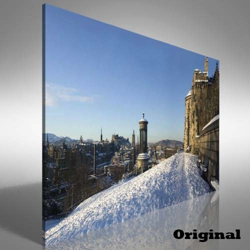 Snow Covered Edinburgh Canvas Print Large Picture Wall Art | Ebay Intended For Edinburgh Canvas Prints Wall Art (Image 14 of 15)