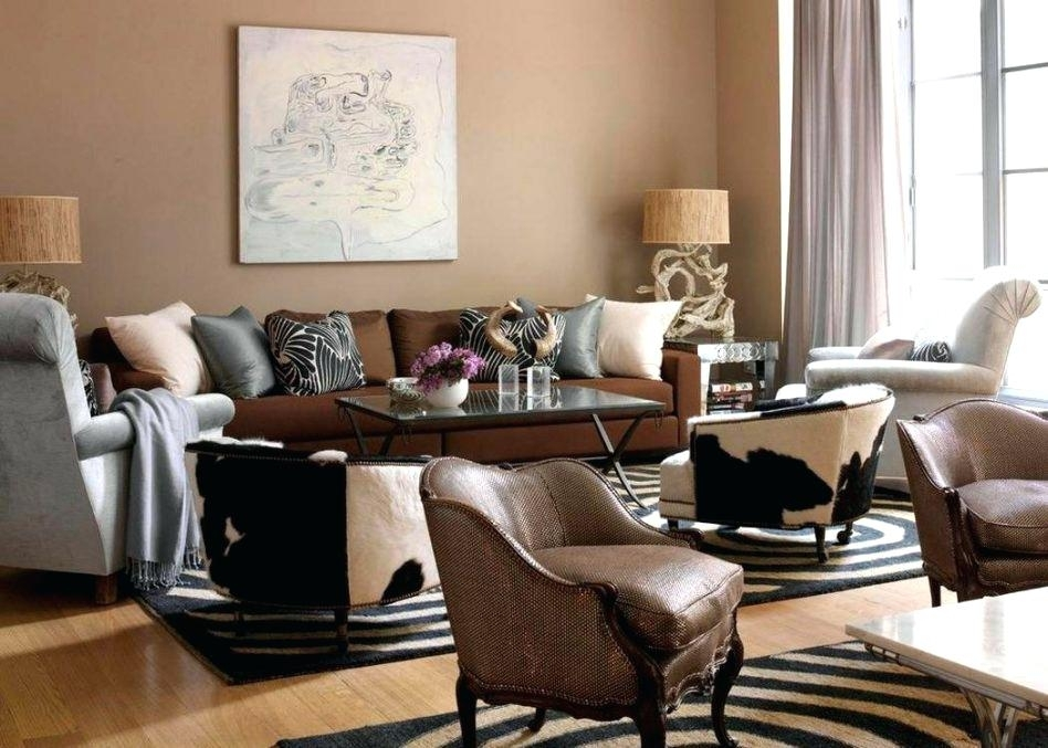 Sofa And Accent Chair Ideas Brown Leather Sofa White Walls Accent Regarding Brown Couch Wall Accents (Image 13 of 15)