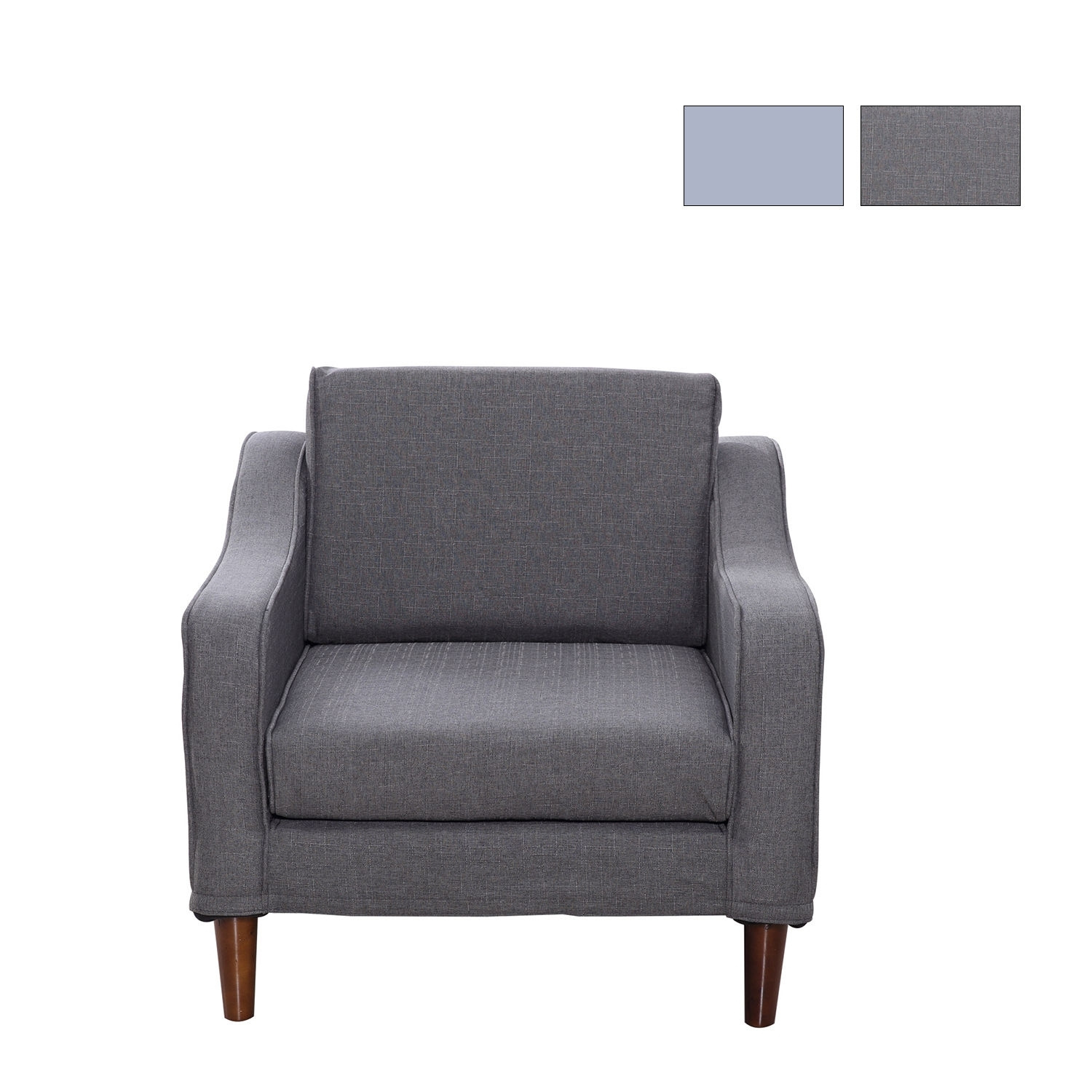 Sofa Arm Chair Single Seat Wood Chaise Linen Couch Cover Lounge Inside Single Sofas (Image 9 of 10)