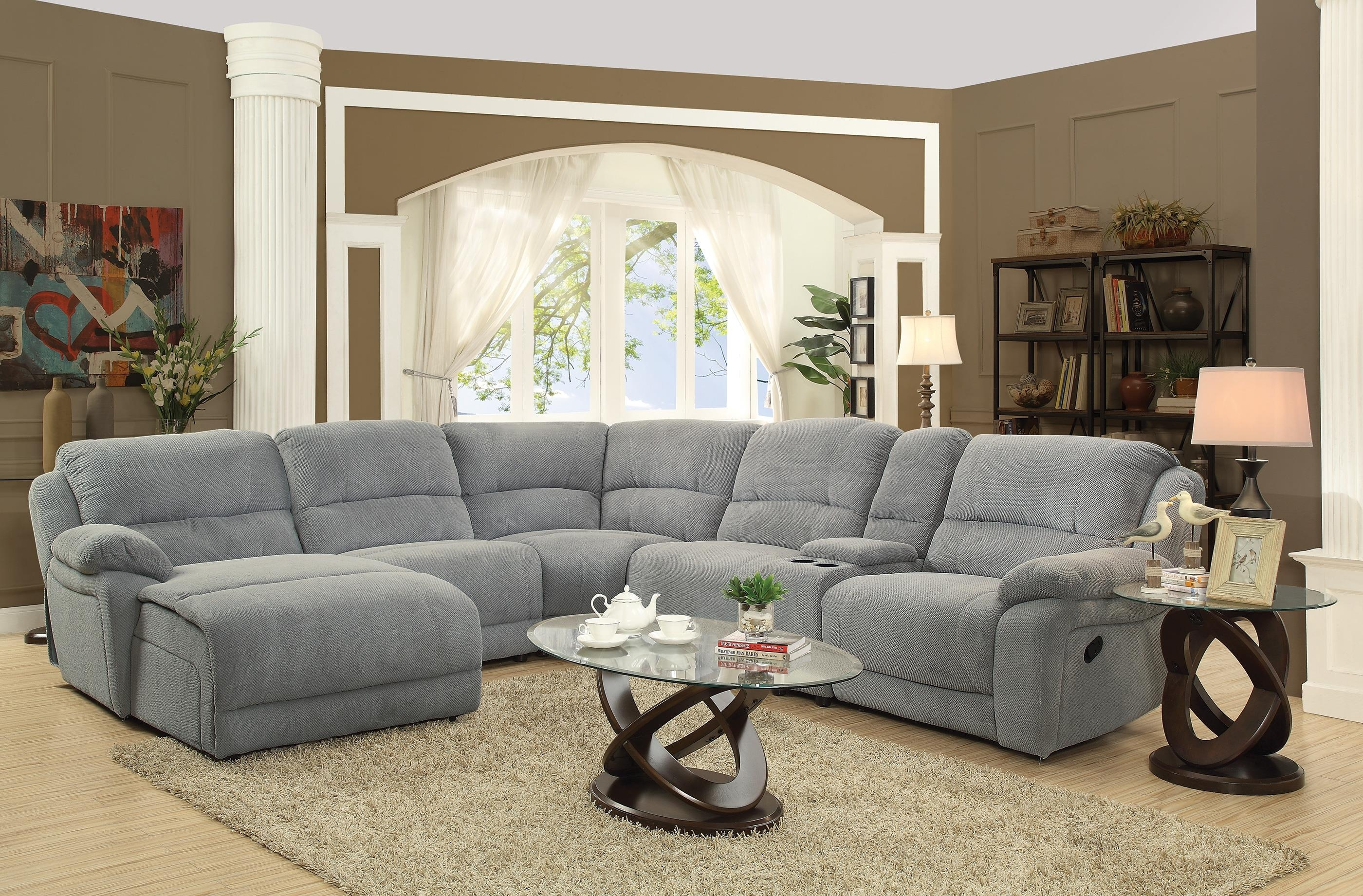 Sofa Couches Tanectional Microfiber Black Fabric Jedd Reclining Intended For Jedd Fabric Reclining Sectional Sofas (Image 10 of 10)