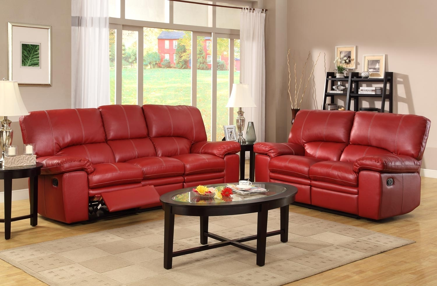 Sofa: Fascinating Red Leather Sofa Set Ashley Furniture Leather Set Throughout Red Leather Reclining Sofas And Loveseats (View 3 of 10)