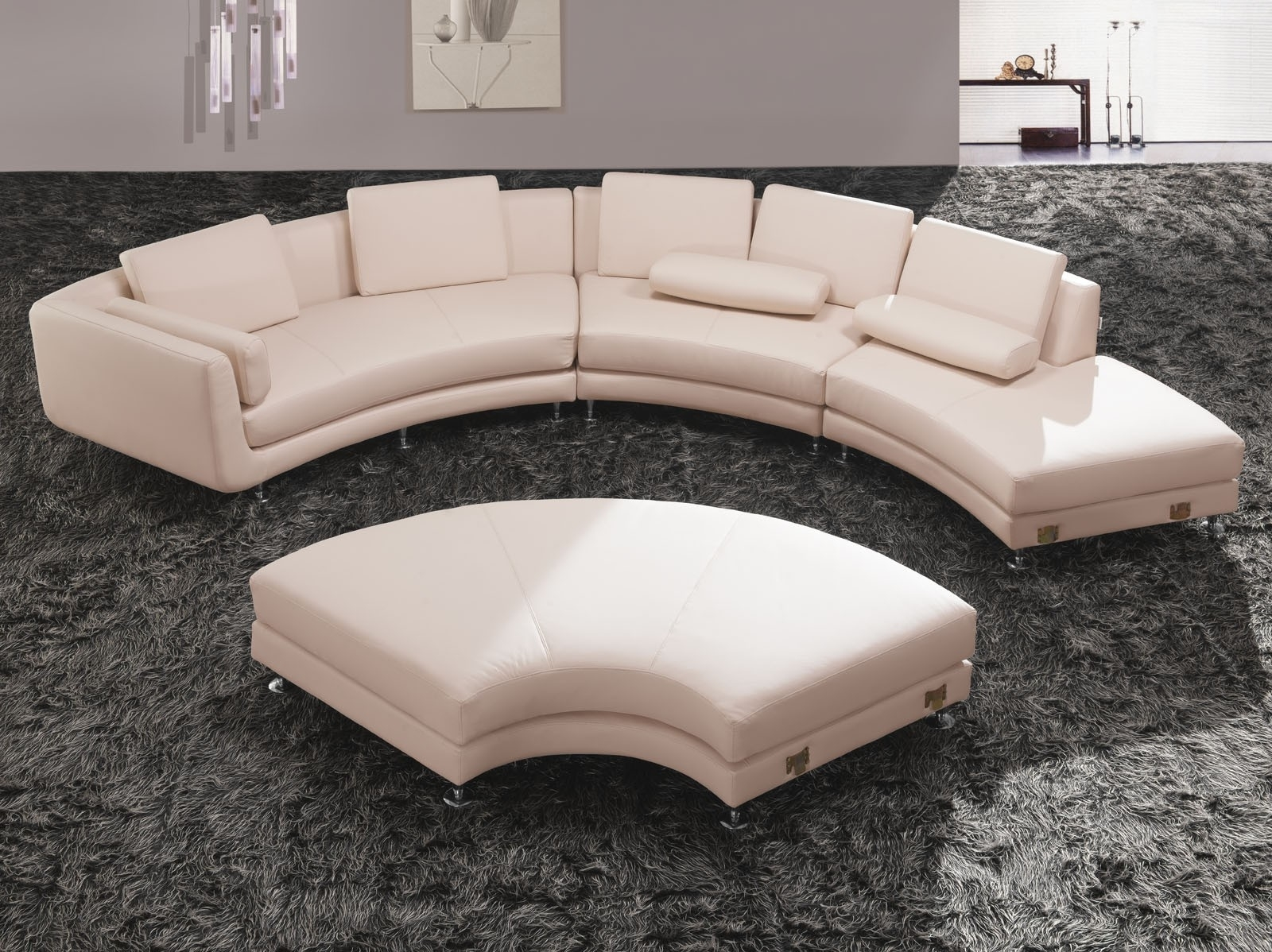 Sofa : Glamorous Round Sectional Sofa Bed Curved Leather Tufted Within Round Sectional Sofas (View 4 of 10)