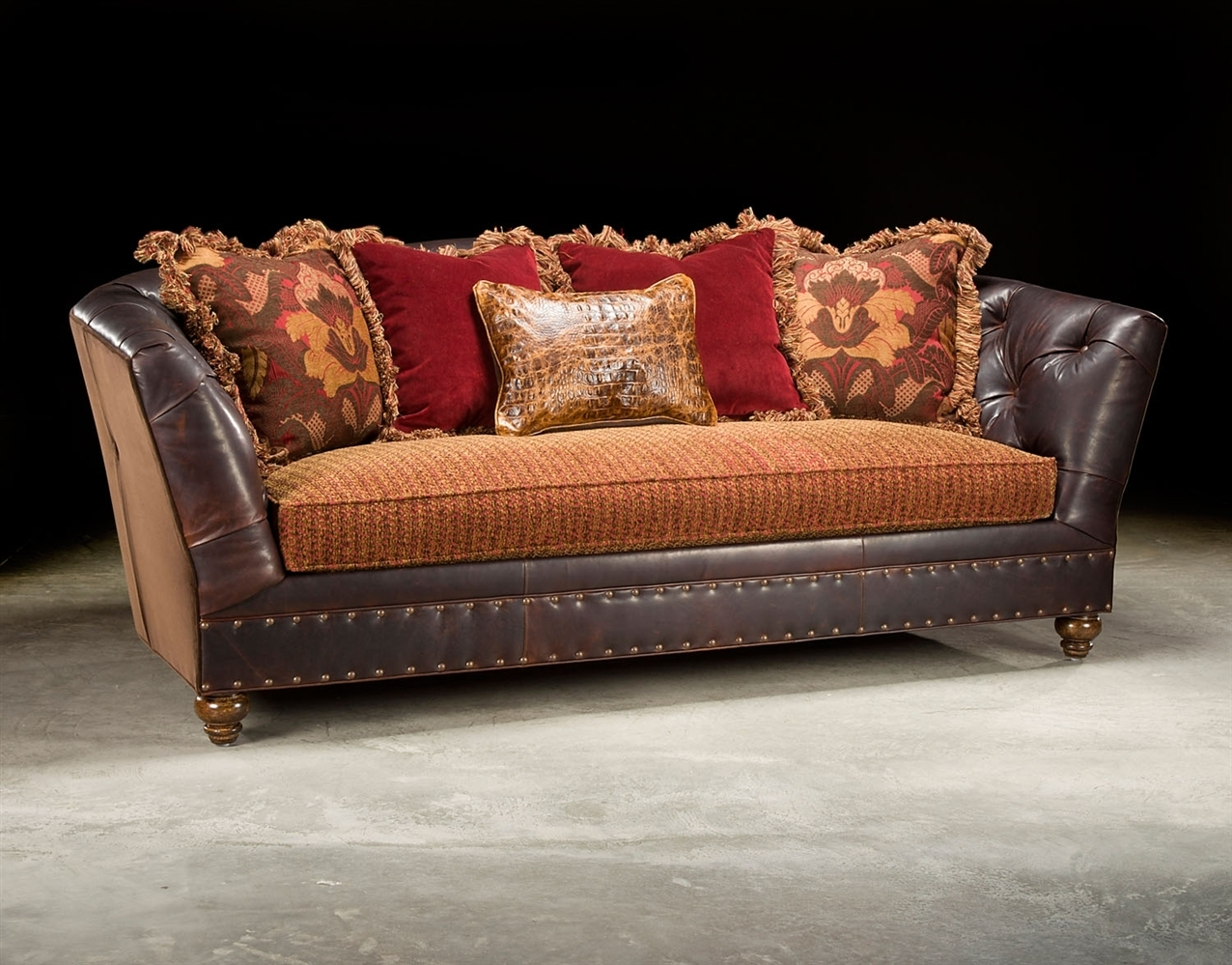 Sofa: Ideas Leather And Fabric Sofas Leather Or Fabric Sofa With Regard To Leather And Cloth Sofas (Image 9 of 10)