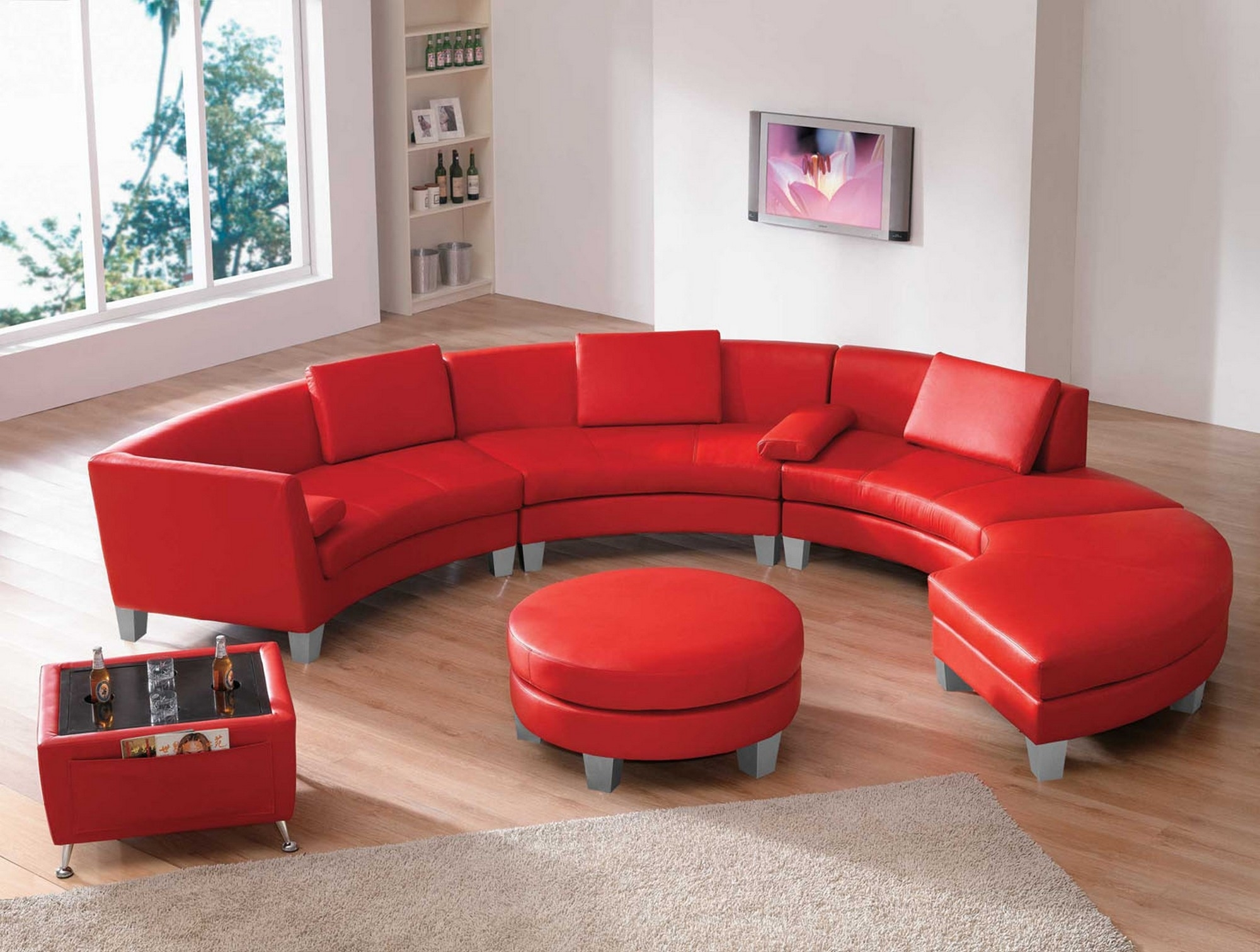 Sofa: Modern Living Room With Leather Sofa Interior Design Leather Inside Red Sectional Sofas With Ottoman (Image 10 of 10)