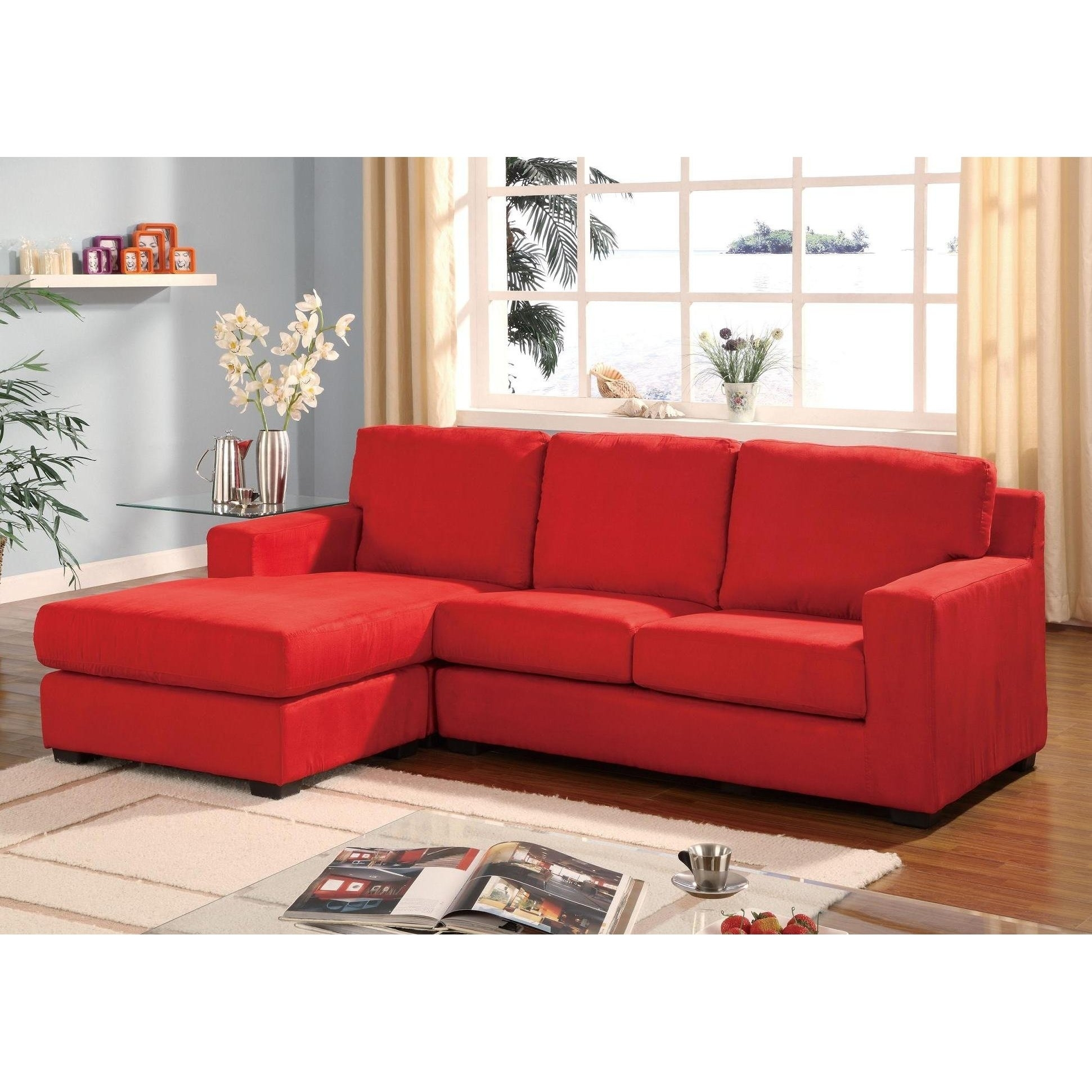 Sofas: Red Sectional Sofa | Reclining Sectional Sofas For Small Within Red Leather Sectionals With Chaise (Image 7 of 10)