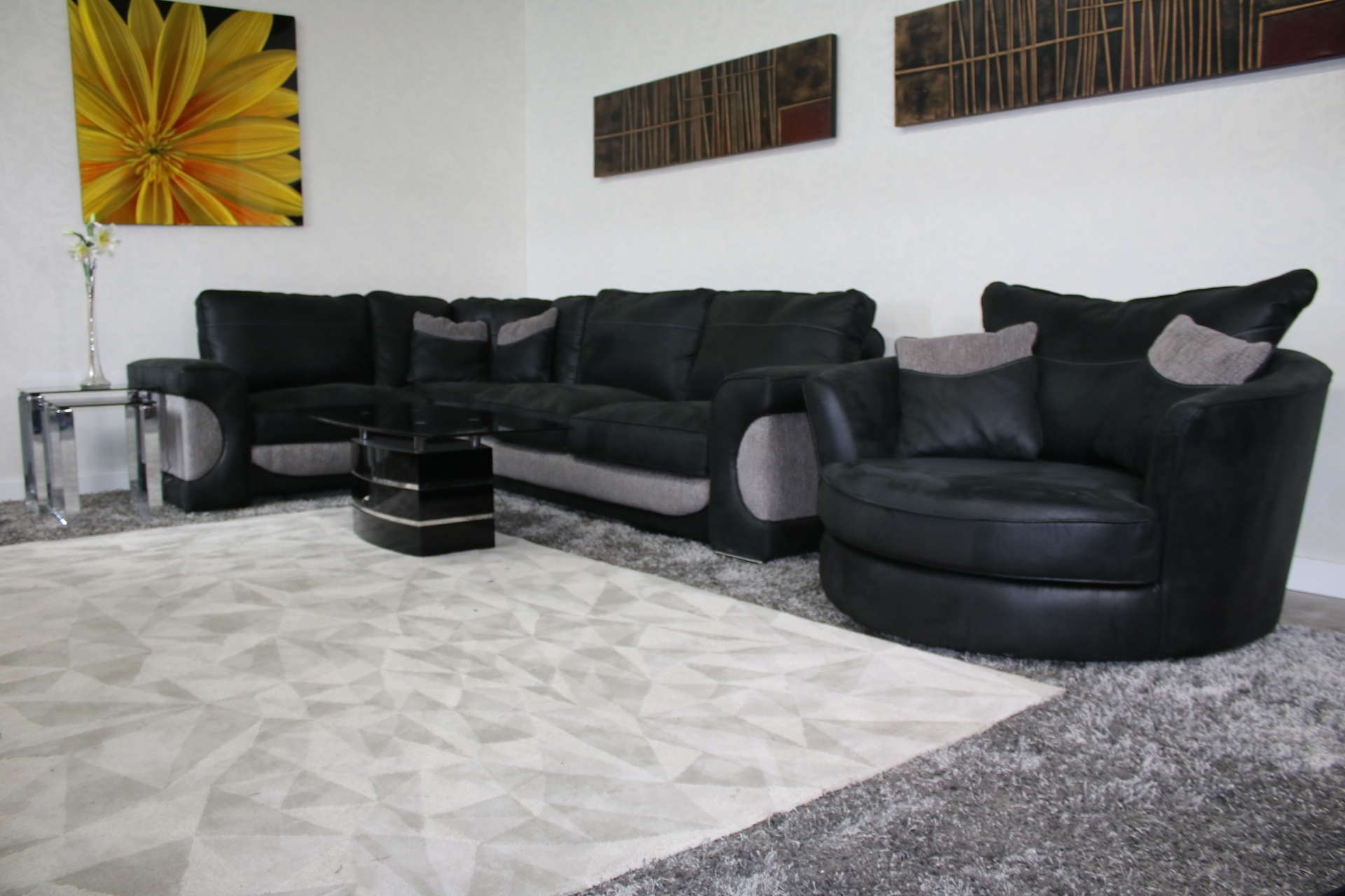Sofology Lucien Corner Sofa + Swivel Cuddler Chair In Sofas With Swivel Chair (Image 10 of 10)