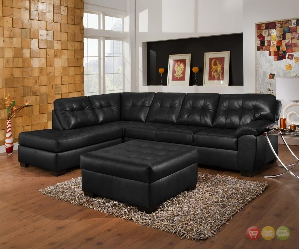 Soho Contemporary Black Bonded Leather Sectional Sofa & Ottoman Intended For Leather Sectional Sofas With Ottoman (Image 10 of 10)