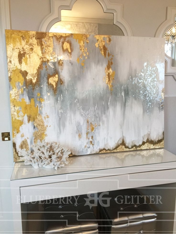 Sold!! Acrylic Abstract Art Large Canvas Painting Gray, Silver Within Glitter Canvas Wall Art (View 10 of 15)