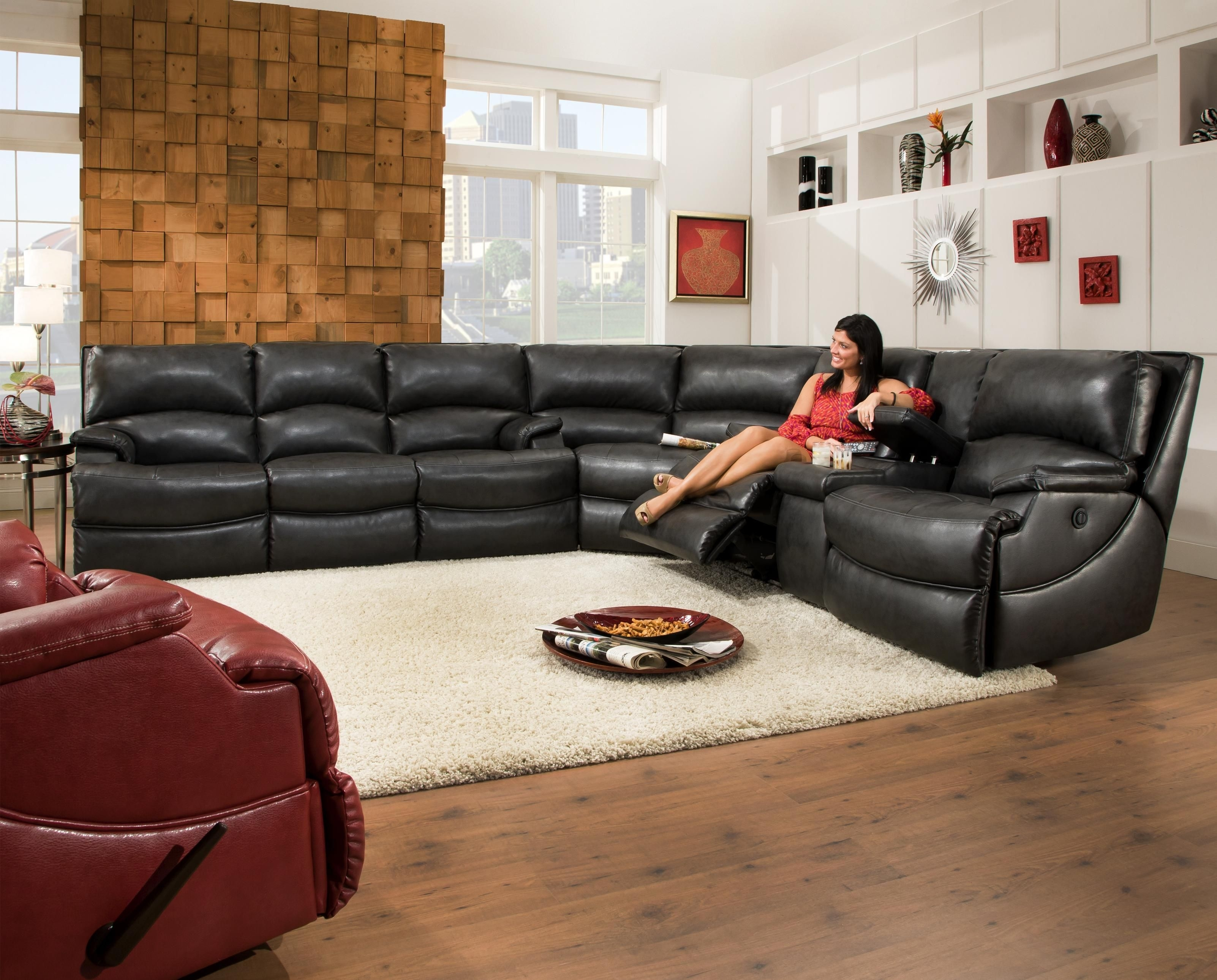 Southern Motion Shazam Six Seat Reclining Sectional Sofa With Cup For Sectional Sofas With Consoles (Image 9 of 10)