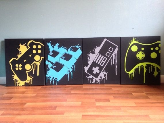 Splatter Controller Art 4 Canves Set | Game Rooms, Room And Gaming Inside Gaming Canvas Wall Art (View 5 of 15)