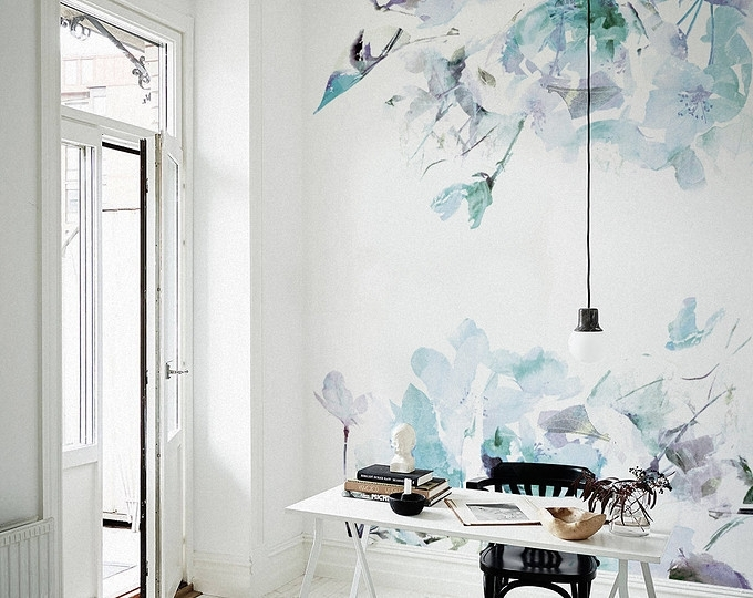Spring Floral Removable Wallpaper Watercolor Wall Mural Peel With Murals Wall Accents (Image 9 of 15)