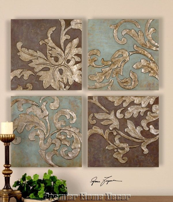St/4 Damask Relief Blocks Wall Plaques Hand Painted Oils – Plaques With Regard To Damask Fabric Wall Art (Image 11 of 15)