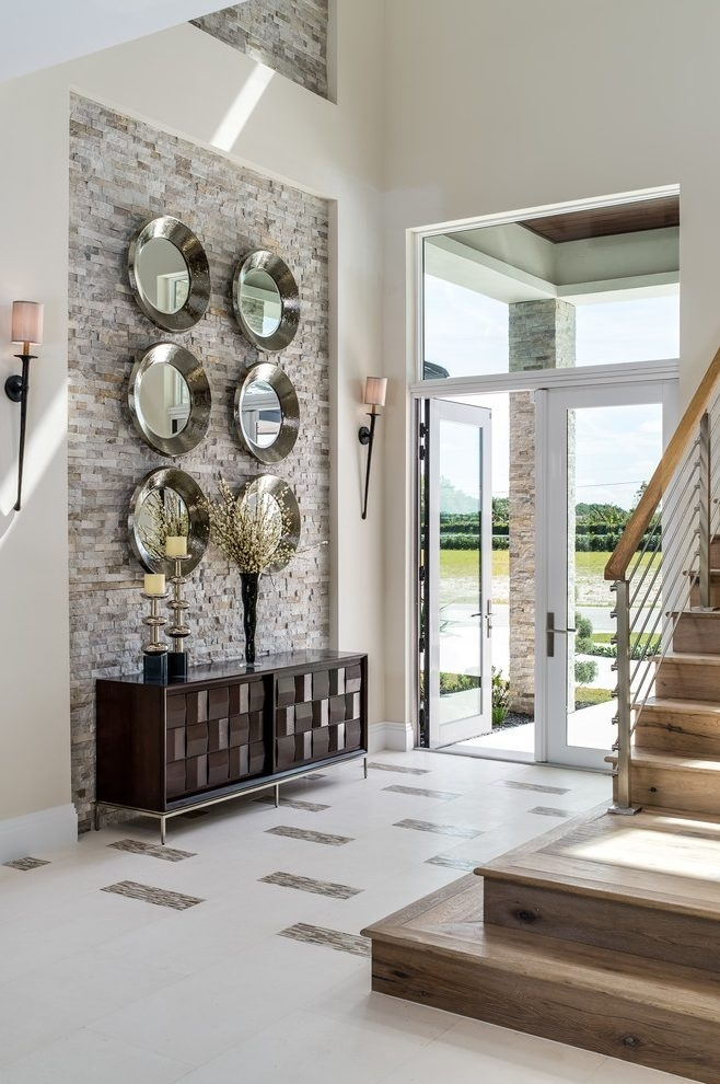 Staircase Accent Wall Entry Transitional With High Ceiling Transom Regarding High Ceiling Wall Accents (Image 14 of 15)