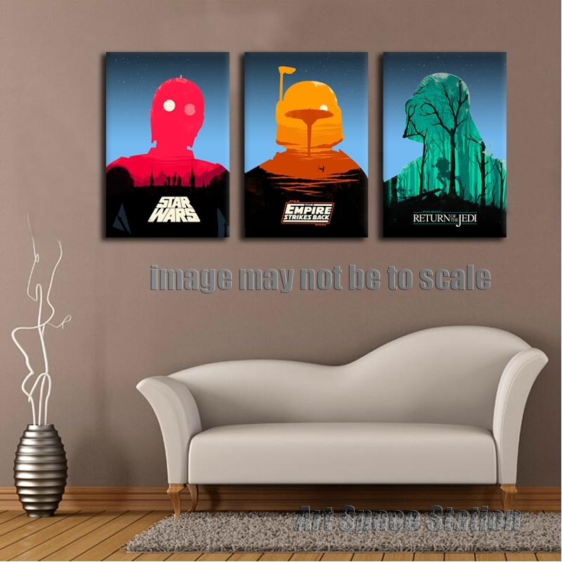Star Wars Empire Movie Poster Modern Abstract Canvas Print, 3 With Abstract Wall Art Posters (View 6 of 15)