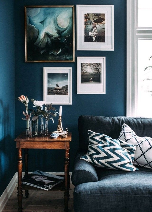 Step Inside A Blogger's Cozy And Eclectic Swedish Home | Dark Blue Regarding Wall Accents For Blue Room (View 8 of 15)