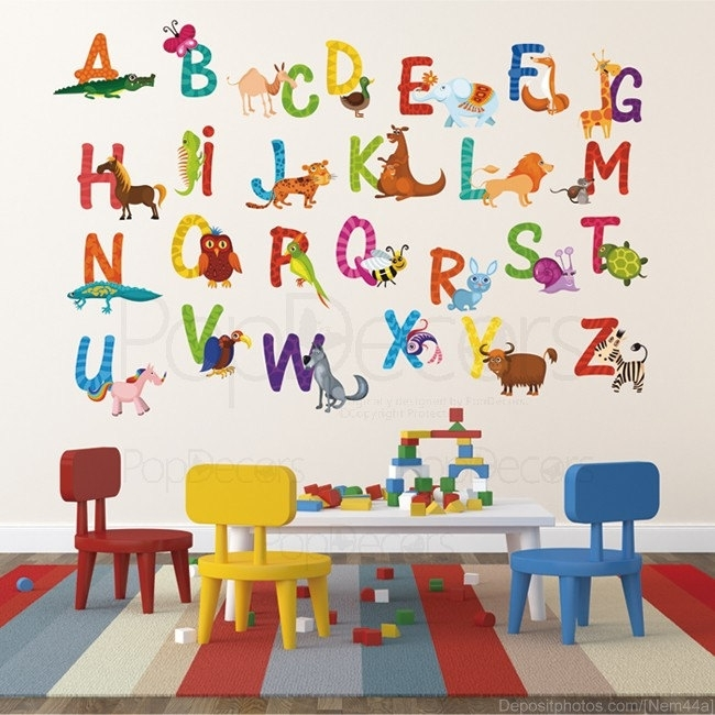 Stickers : Abstract Alphabet Wall Stickers Lowercase With Example Within John Lewis Abstract Wall Art (Image 11 of 15)