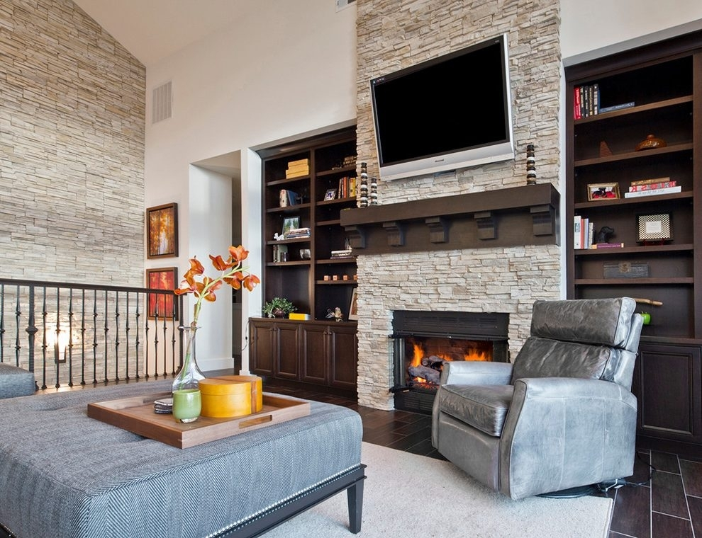 Stone Accent Wall Living Room Transitional With Living Room For High Ceiling Wall Accents (Image 15 of 15)