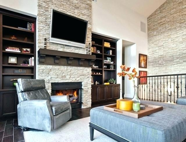Stone Fireplace Wall Throughout Fireplace Wall Accents (View 9 of 15)