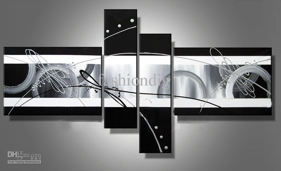 Stretched Abstract Oil Painting Canvas Black White Grey Artwork With Black And White Canvas Wall Art (View 4 of 15)