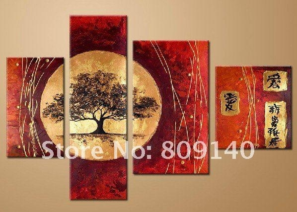 Stretched Japanese Landscape Oil Painting Canvas Artwork Hand Within Japanese Canvas Wall Art (Image 13 of 15)
