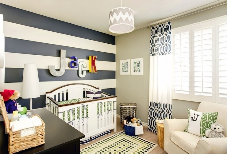 Striped Nursery – Contemporary – Nursery – J And J Design Group With Regard To Horizontal Stripes Wall Accents (Image 14 of 15)