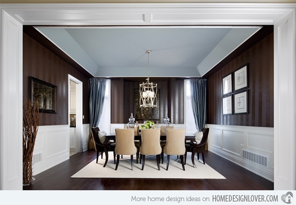 Striped Wall Accents In 15 Dining Room Designs | Home Design Lover Pertaining To Stripe Wall Accents (Image 12 of 15)