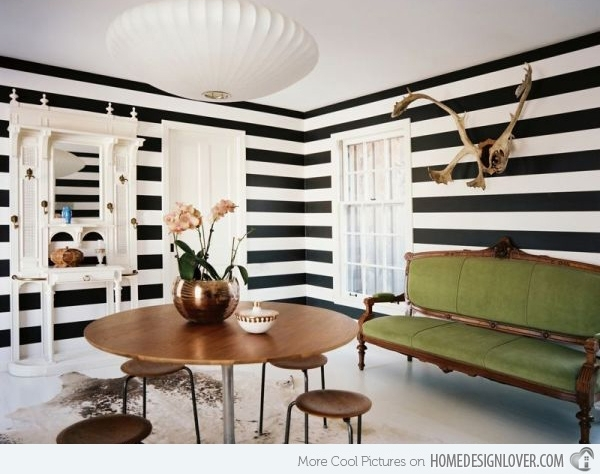 Striped Wall Accents In 15 Dining Room Designs | Home Design Lover Within Stripe Wall Accents (Image 13 of 15)