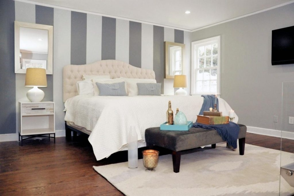 Stripes Bedroom Wall Accent With Vertical Grey White Colors — Tedx Within Vertical Stripes Wall Accents (View 4 of 15)