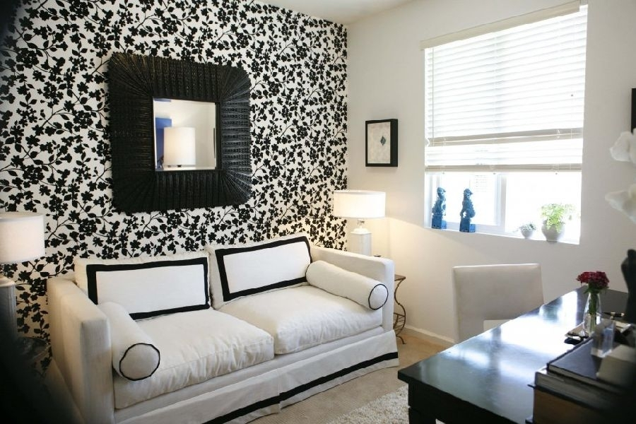 Stunning Black And White Wallpaper Accent Wall For Living Room 4 With Wallpaper Living Room Wall Accents (View 7 of 15)