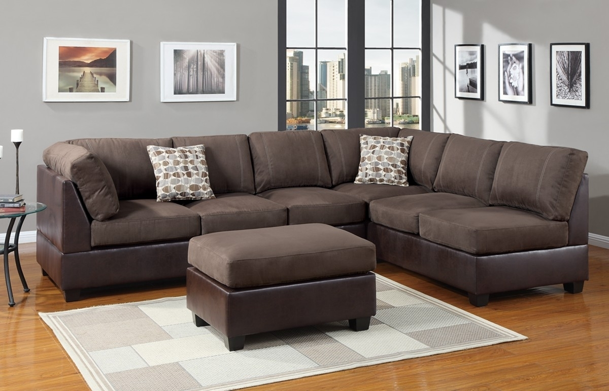 Stylish Leather Suede Sectional Sofa – Mediasupload With Leather And Suede Sectional Sofas (View 4 of 10)