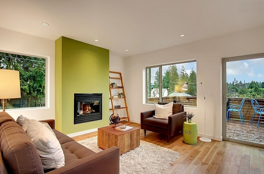 Stylish Living Room Green Accent Wall Decoist – Homes Alternative For Green Wall Accents (View 6 of 15)