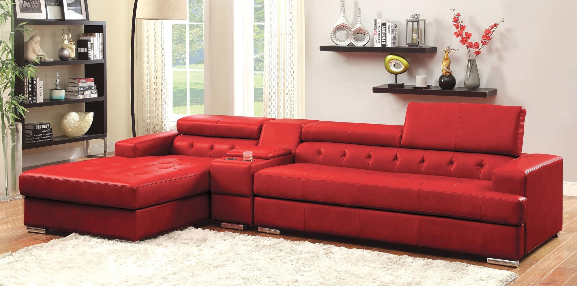 Stylish Modern Red Sectional Sofas In Red Leather Sectionals With Chaise (Image 9 of 10)