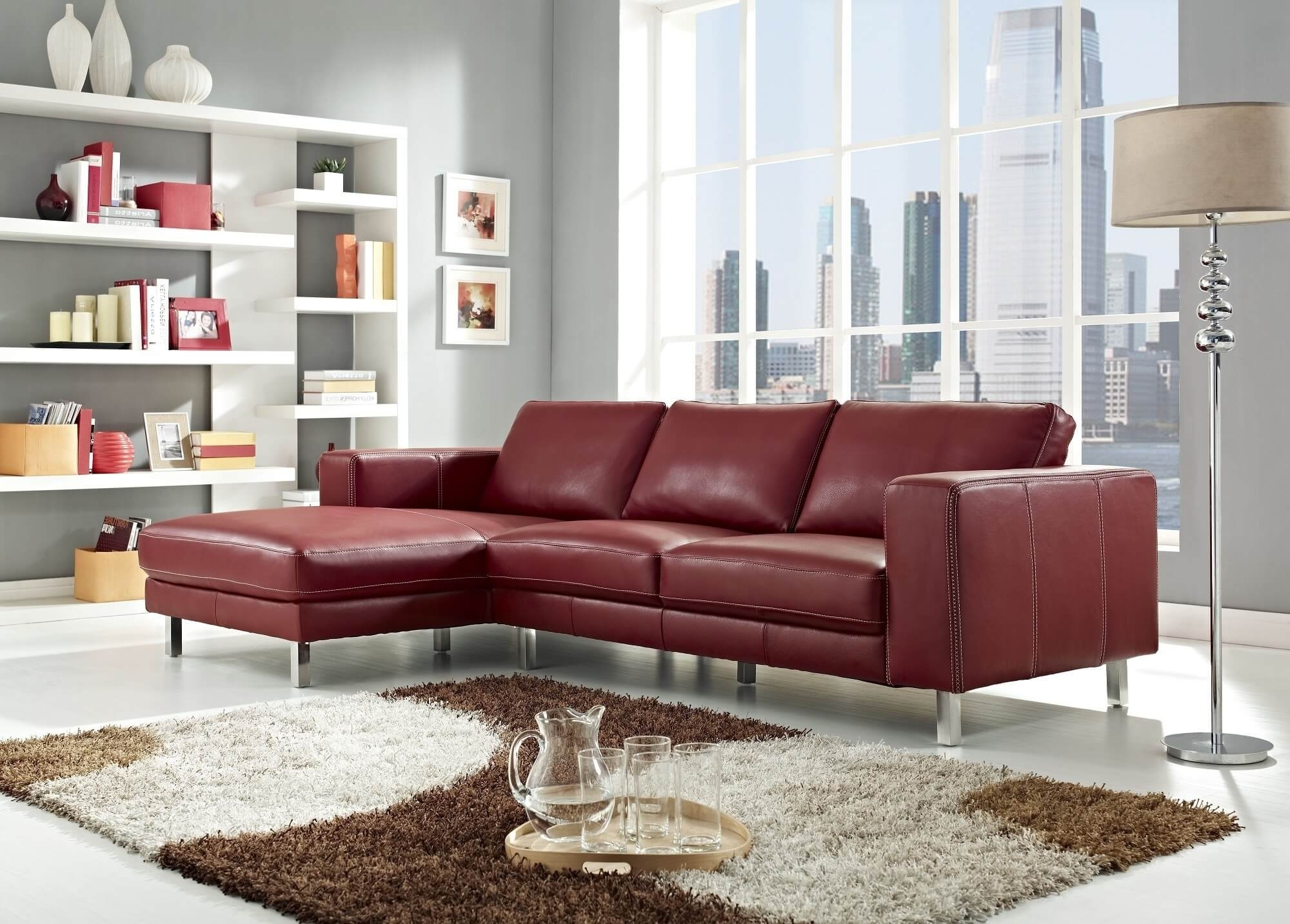 Stylish Modern Red Sectional Sofas With Regard To Red Leather Sectionals With Chaise (Image 10 of 10)