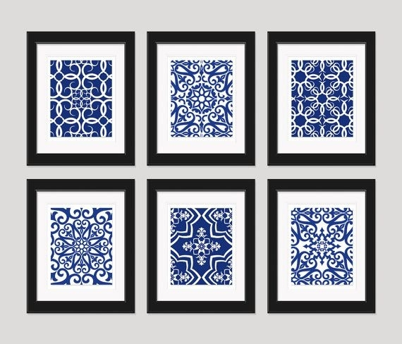 Stylist Design Ideas Blue Wall Art Or Navy White Home Decor Set Inside Navy Canvas Wall Art (Image 14 of 15)
