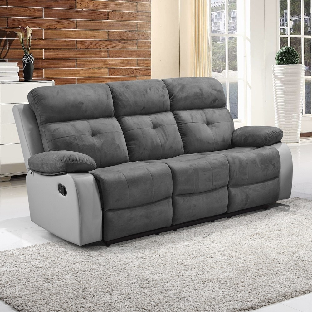Suede Leather Reclining Sofa | Catosfera Inside Faux Suede Sofas (Image 10 of 10)