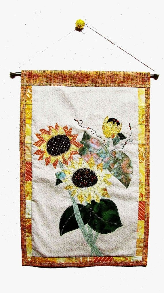 Sunflower Fabric Art Wall Hanging, Summer Sunflowers Fabric Throughout Fabric Applique Wall Art (Image 12 of 15)