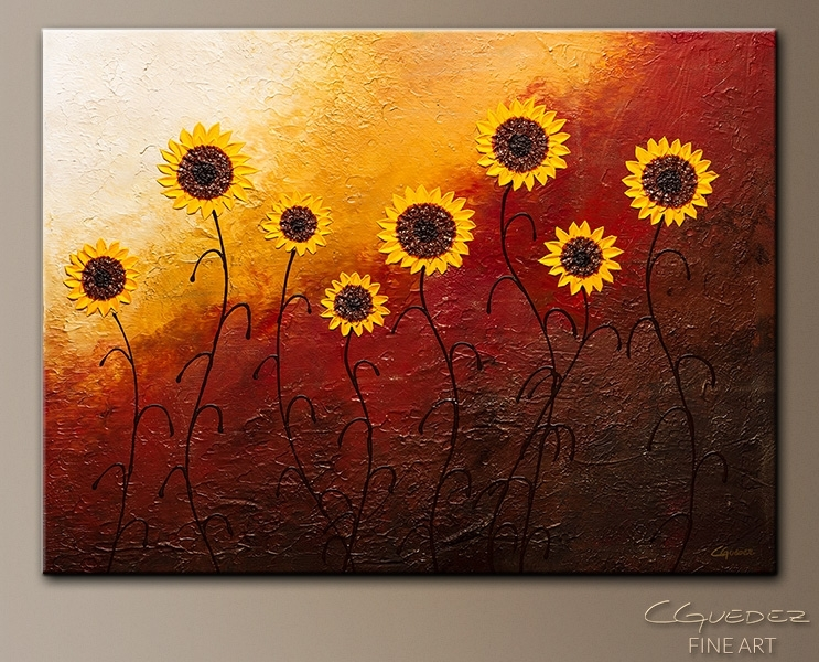 Sunflower Garden Abstract Wall Art|Modern Hand Made Abstract Art Throughout Abstract Garden Wall Art (View 4 of 15)